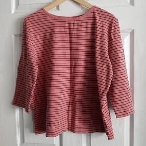 3/4 Sleeve Striped Cotton Top
